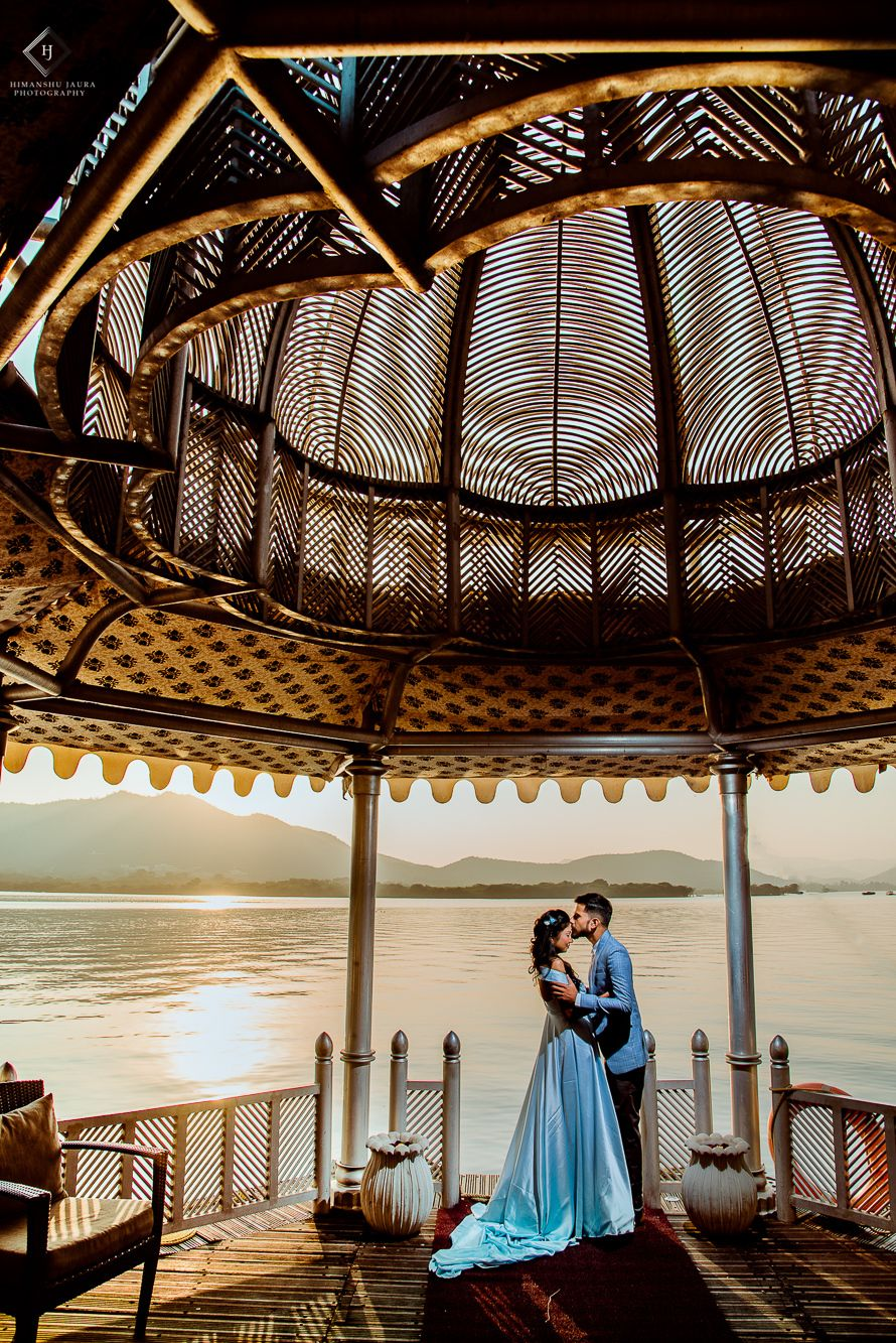Photo of Destination pre wedding shoot with both in blue