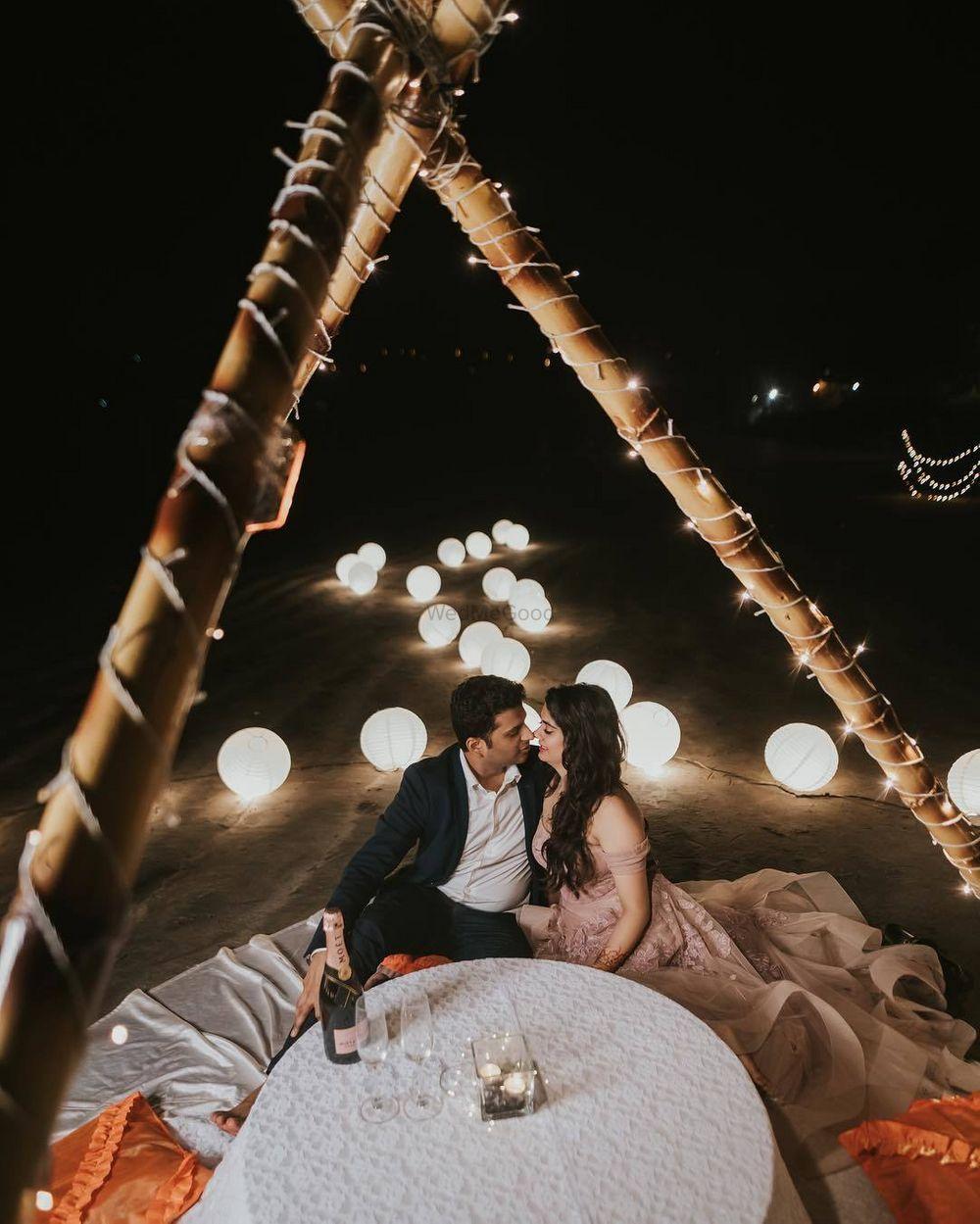 Photo of pretty glamping pre wedding shoot idea on the beach