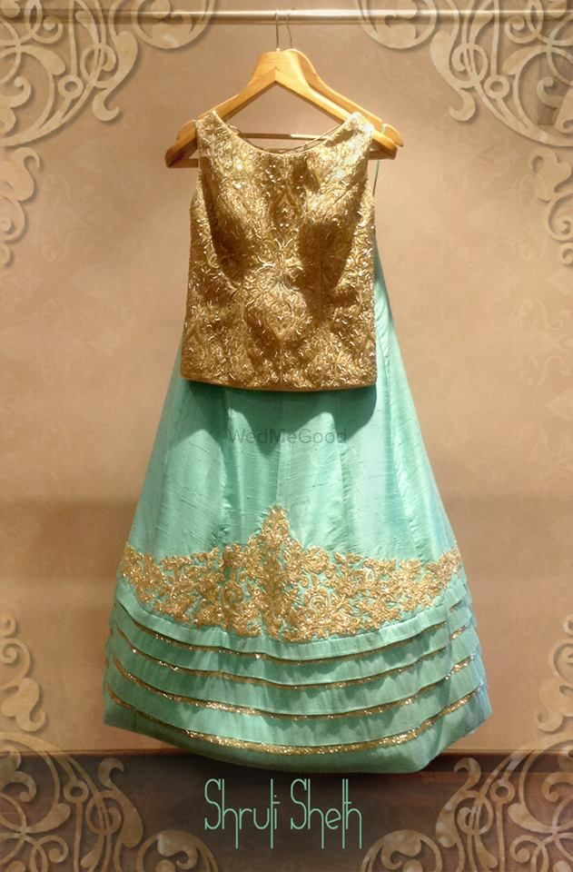 Photo of ice blue lehenga