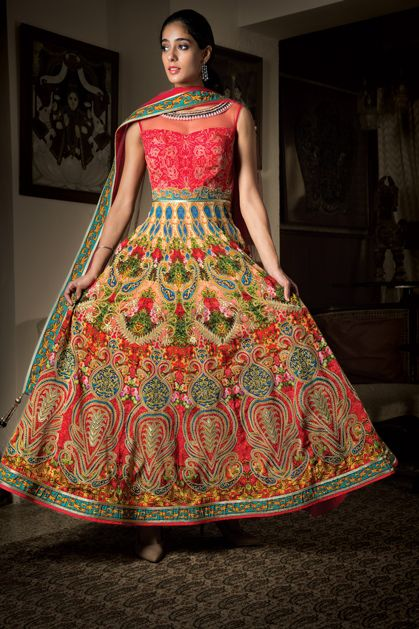 Photo of multicolored anarkali