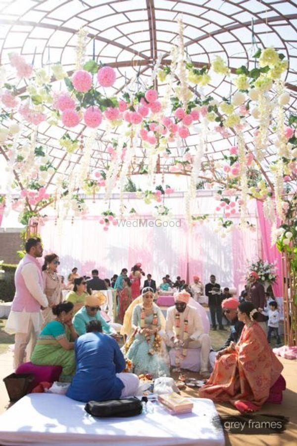Photo of Pastel mandap decor for morning wedding