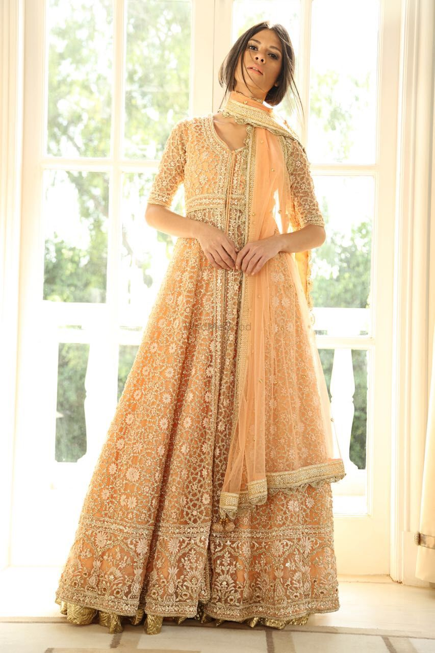 Photo of Peach net anarkali with silver work