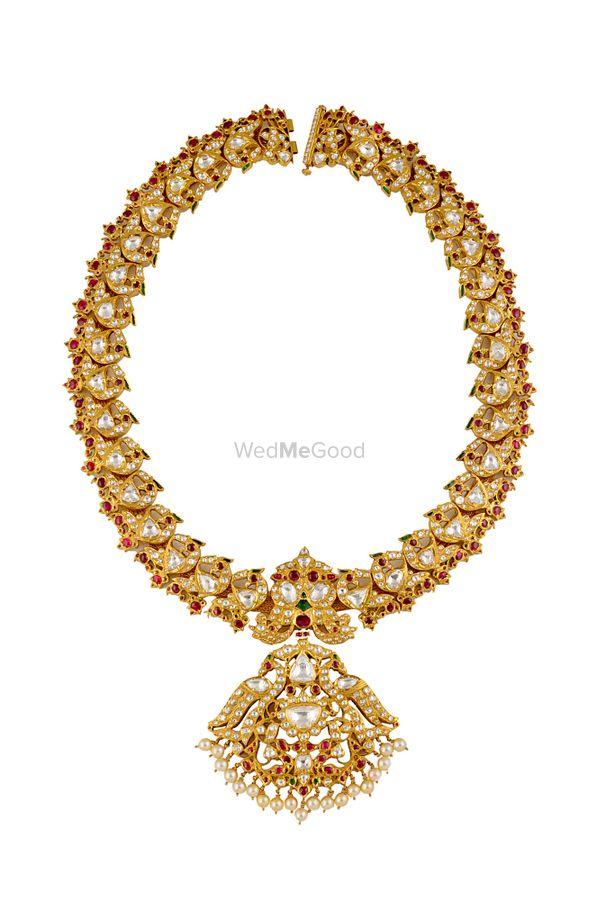 Photo of Kundan necklace with pendant tukdi