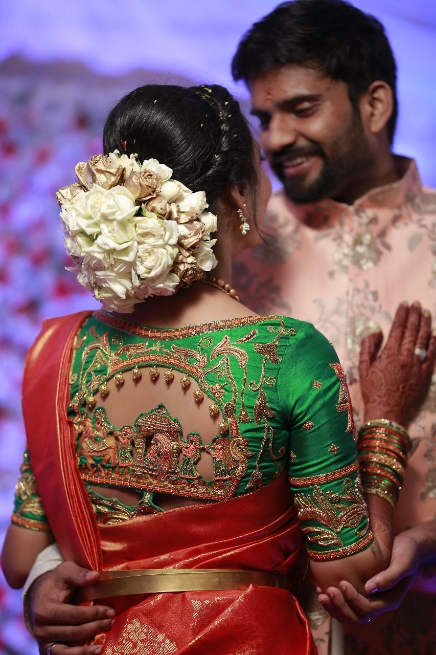 Photo of Blouse back style with Baraat design