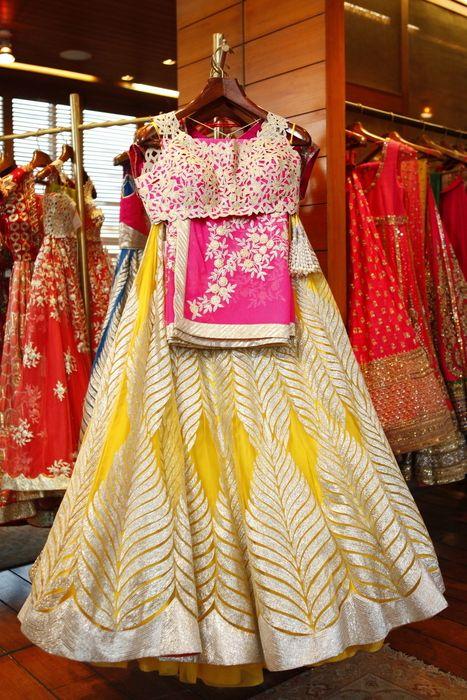 Photo of yellow and pink mehendi lehenga
