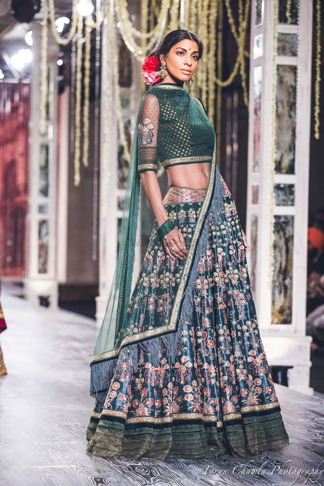 Photo of Tahiliani Teal and Blue Lehenga with Thread Work