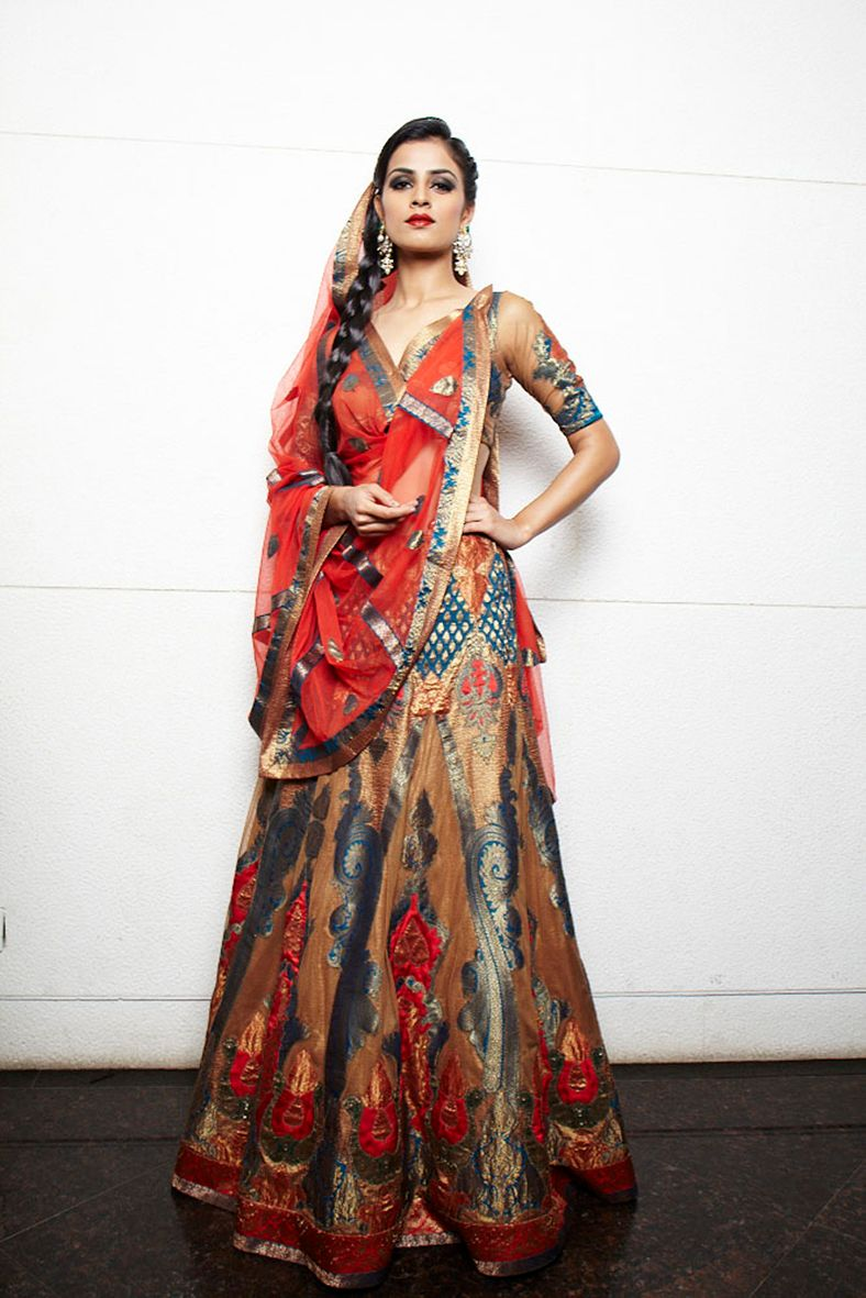 Photo of Red and blue lehenga for sangeet