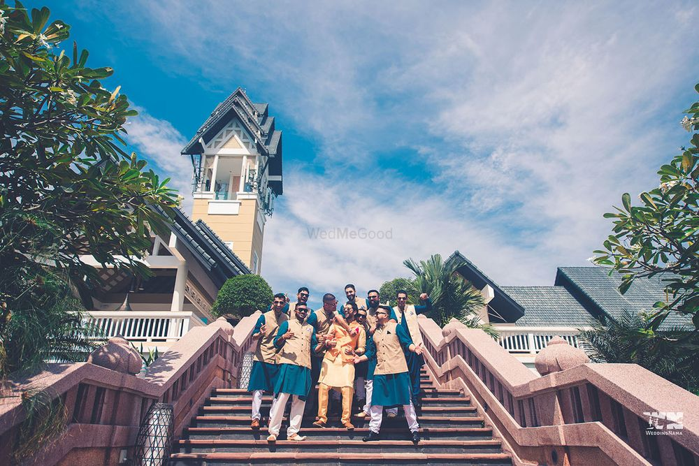 Photo of A fun picture of a groom with his groomsmen.