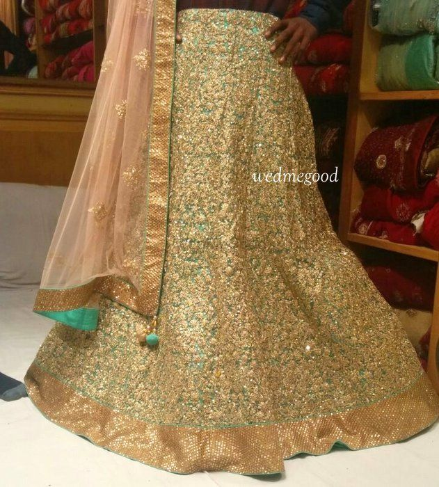 Photo of mint and blush pink lehenga