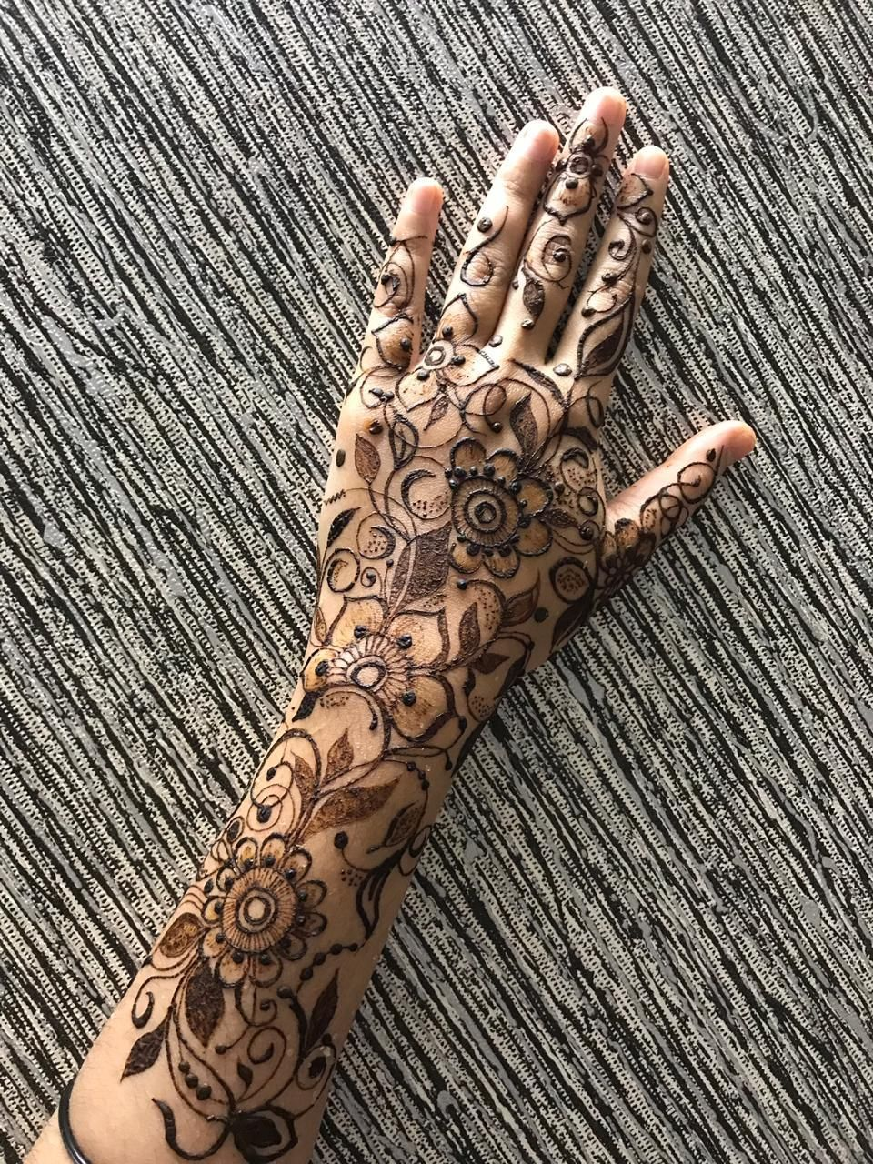 Photo of A unique arabic mehendi design with mandalas and flowers