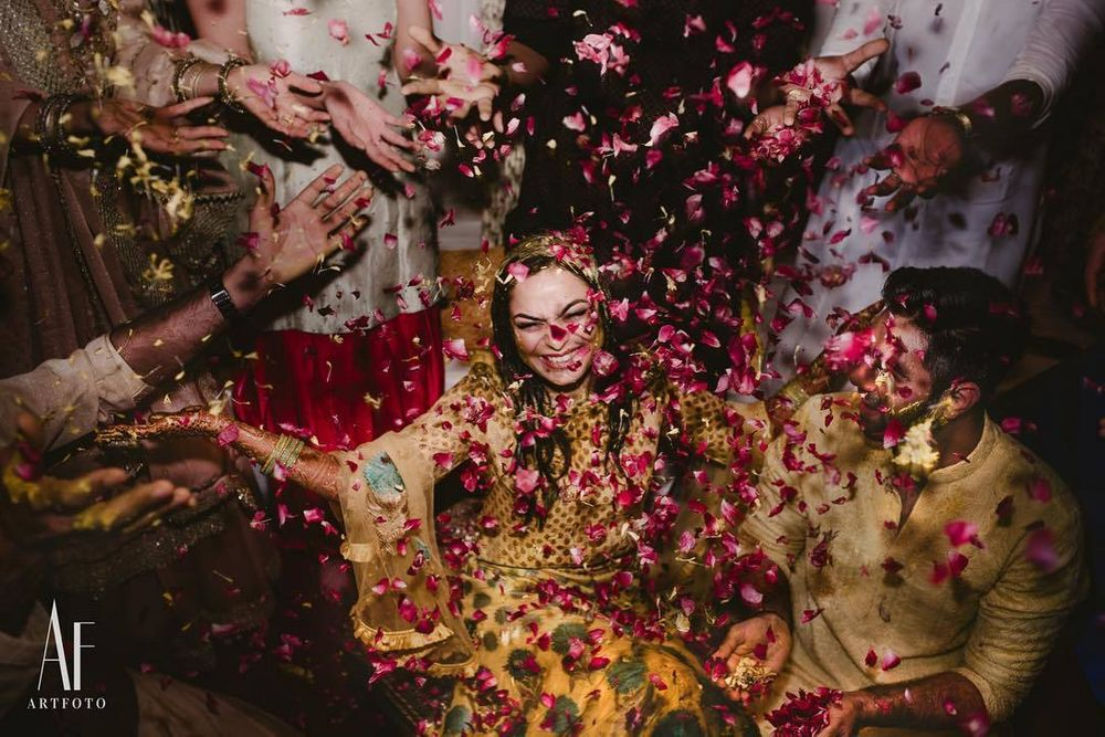 Photo of fun bridal portrait