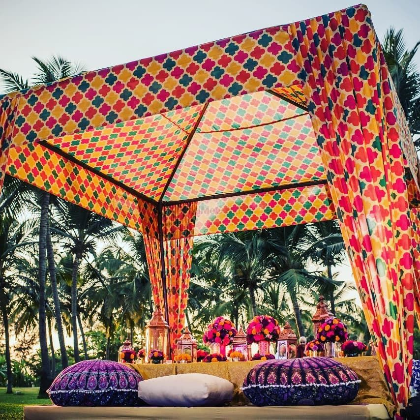 Photo of Printed mehendi tent and seating