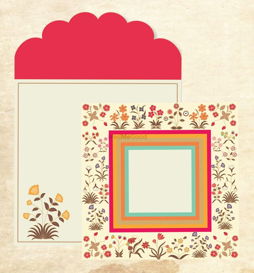 Photo of White and red floral print card