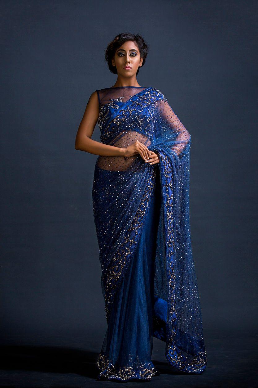 Photo of Navy blue saree with tiny gold motifs