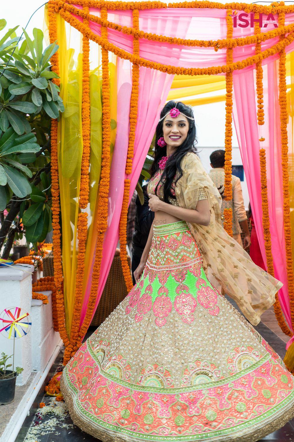 Photo of quirky green mehendi lehenga for bride