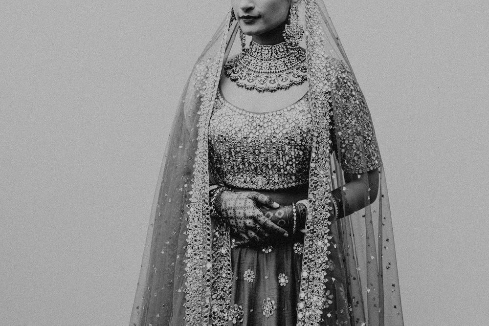 Photo of black and white modern bridal close up shot