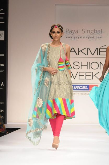Photo of Payal Singhal anarkali with multicolored stripes