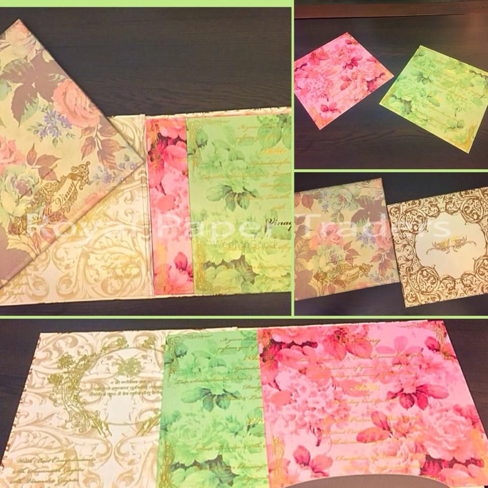 Photo of lime and pink watercolor print wedding invitations