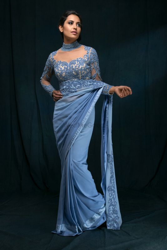 Photo of Powder Blue Sari with Sheer Beaded Blouse