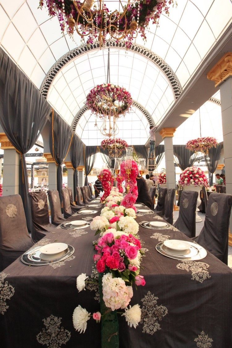 Photo of Grey and pink table setting