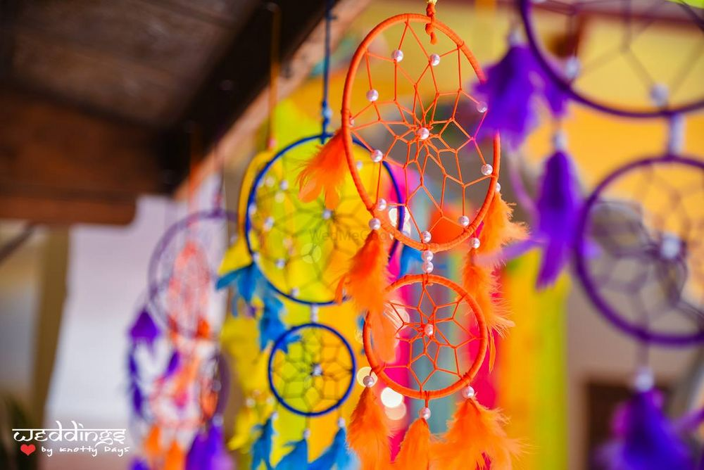 Photo of Colourful dreamcatchers hanging in mehendi as props
