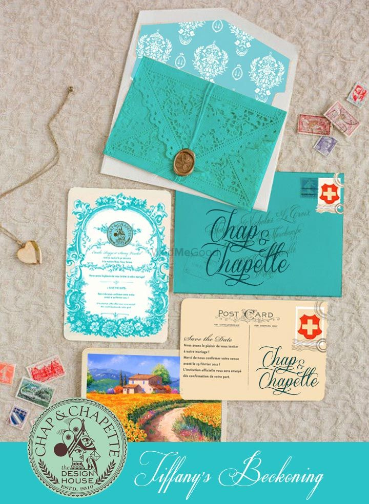 Photo of Light blue theme laser cut invitation cards