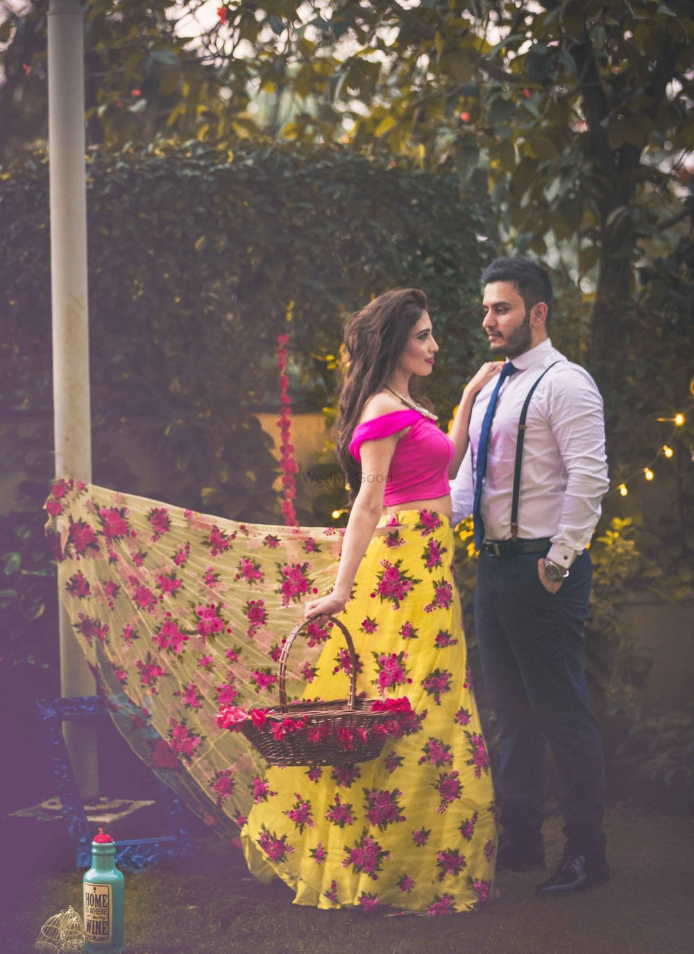 Photo of Vintage floral theme pre wedding shoot