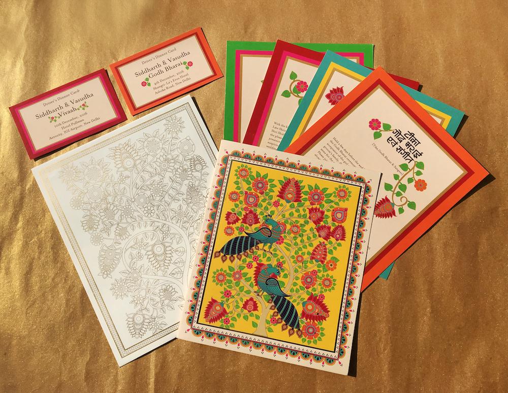 Photo of Kalamkari inspired colourful modern wedding card