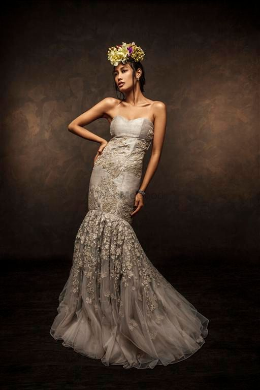 Photo of lavender champagne gown fishcut