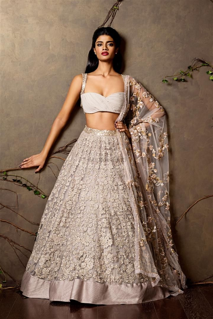 Photo of ash grey lehenga