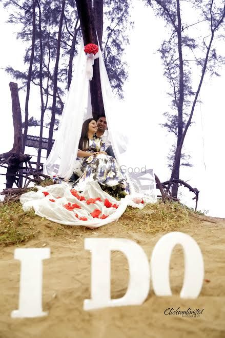 Photo of pre wedding shoot with glamping theme and wooden letters