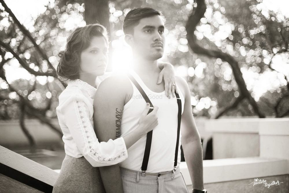 Photo of Contemporary pre wedding shoot in black and white