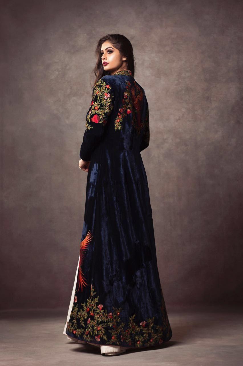 Photo of royal blue velvet embellished florals jacket