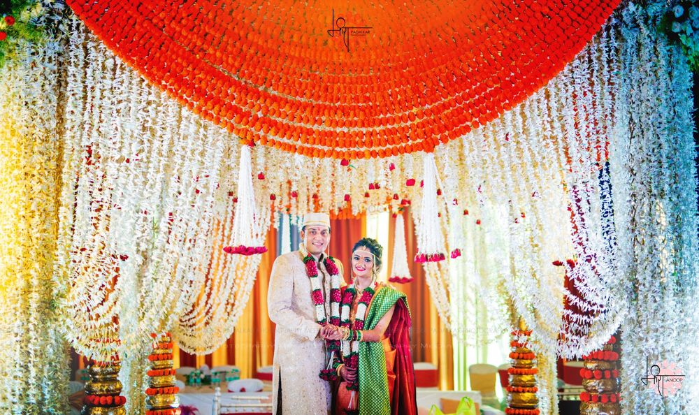 Photo of hanging floral south indian mandap decor