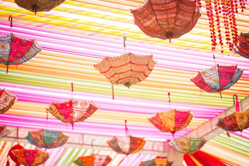 Photo of suspended umbrellas decor