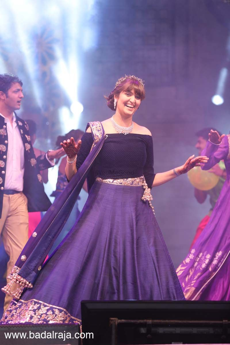 Photo of Navy blue lehenga for sangeet with off shoulder blouse
