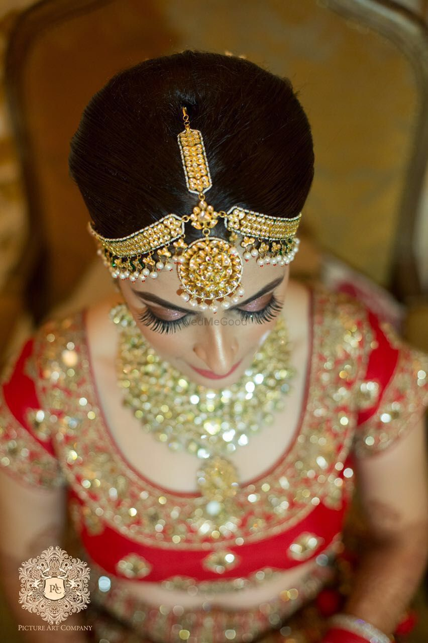 Photo of Gold Mathapatti with Pearls and Gold Balls