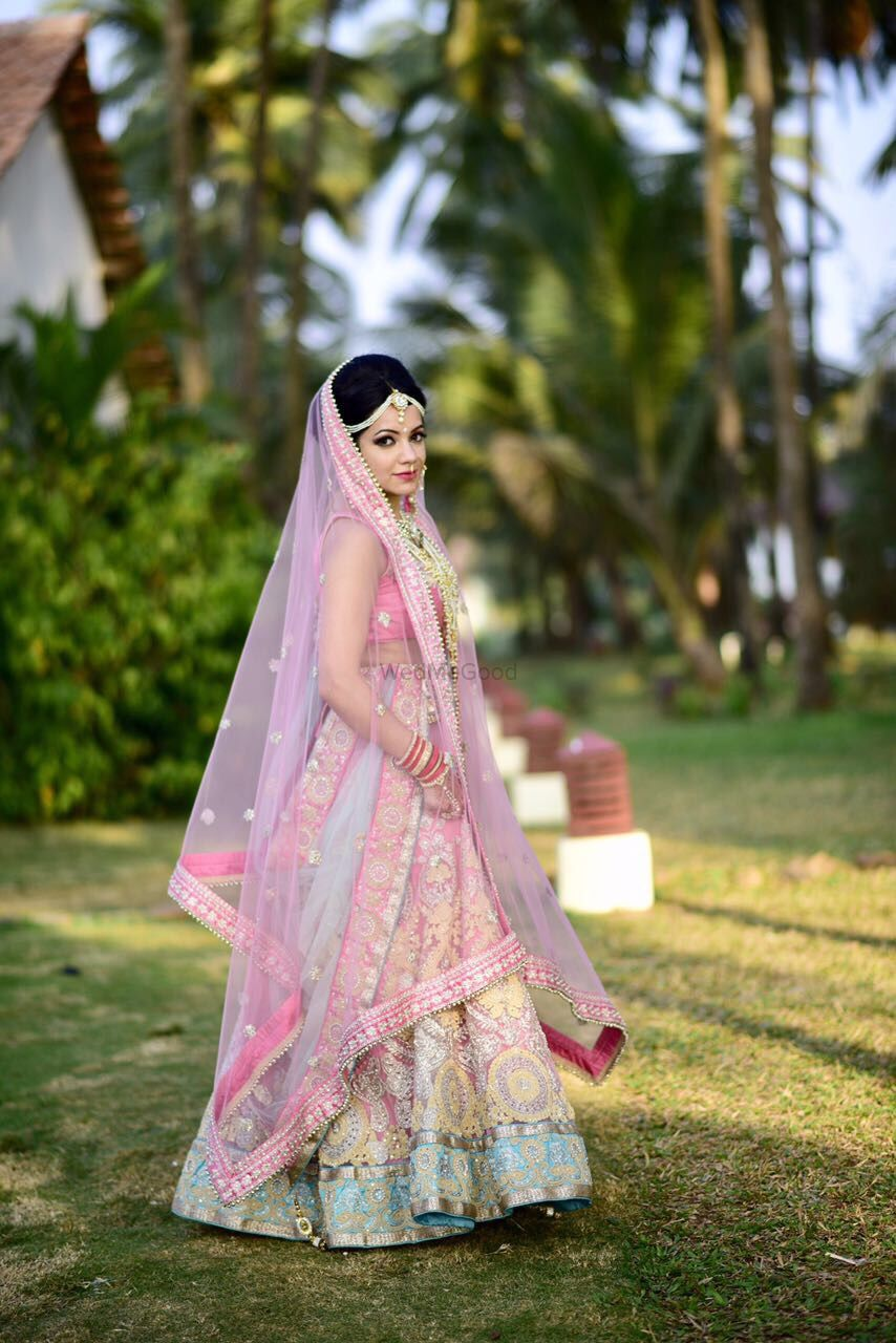 Photo of Pastel morning wedding lehenga in light pink and blue