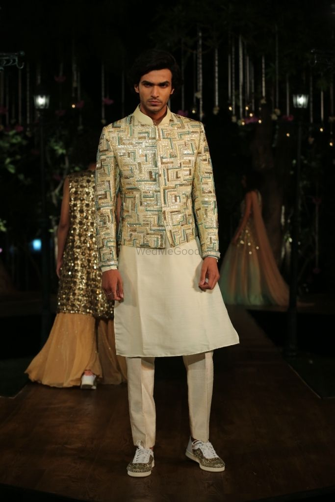 Photo of Ivory embellished jacket and kurta