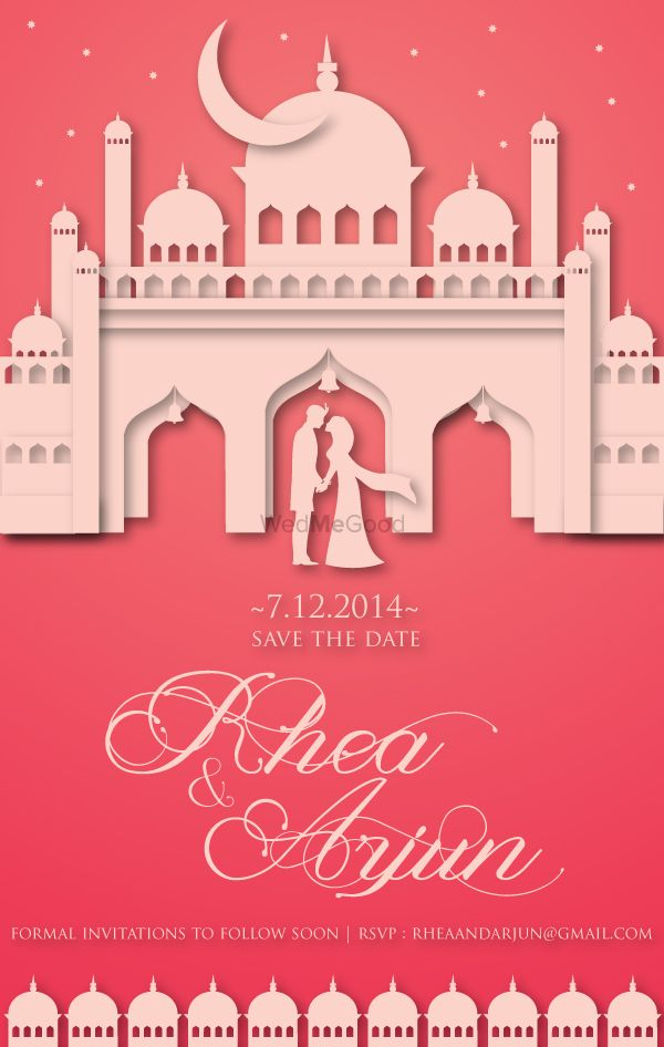 Photo of dusty pink invitation