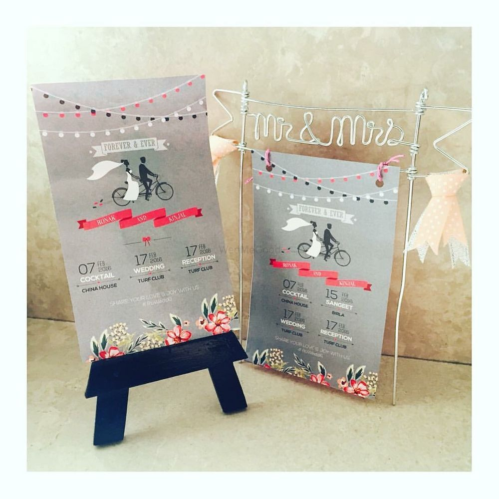 Photo of Light Grey Wedding Flyer with Illustration