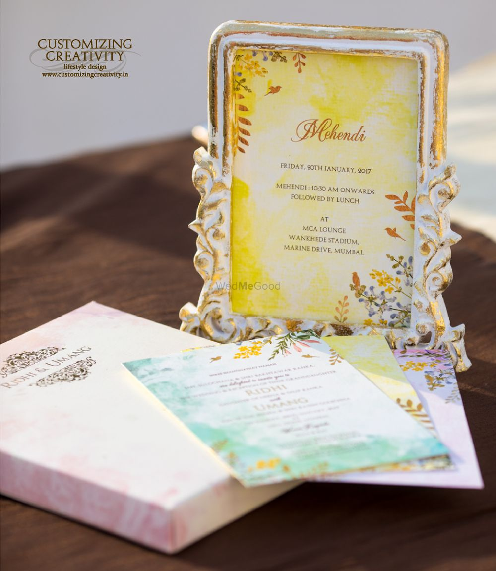 Photo of Modern wedding invites in a frame