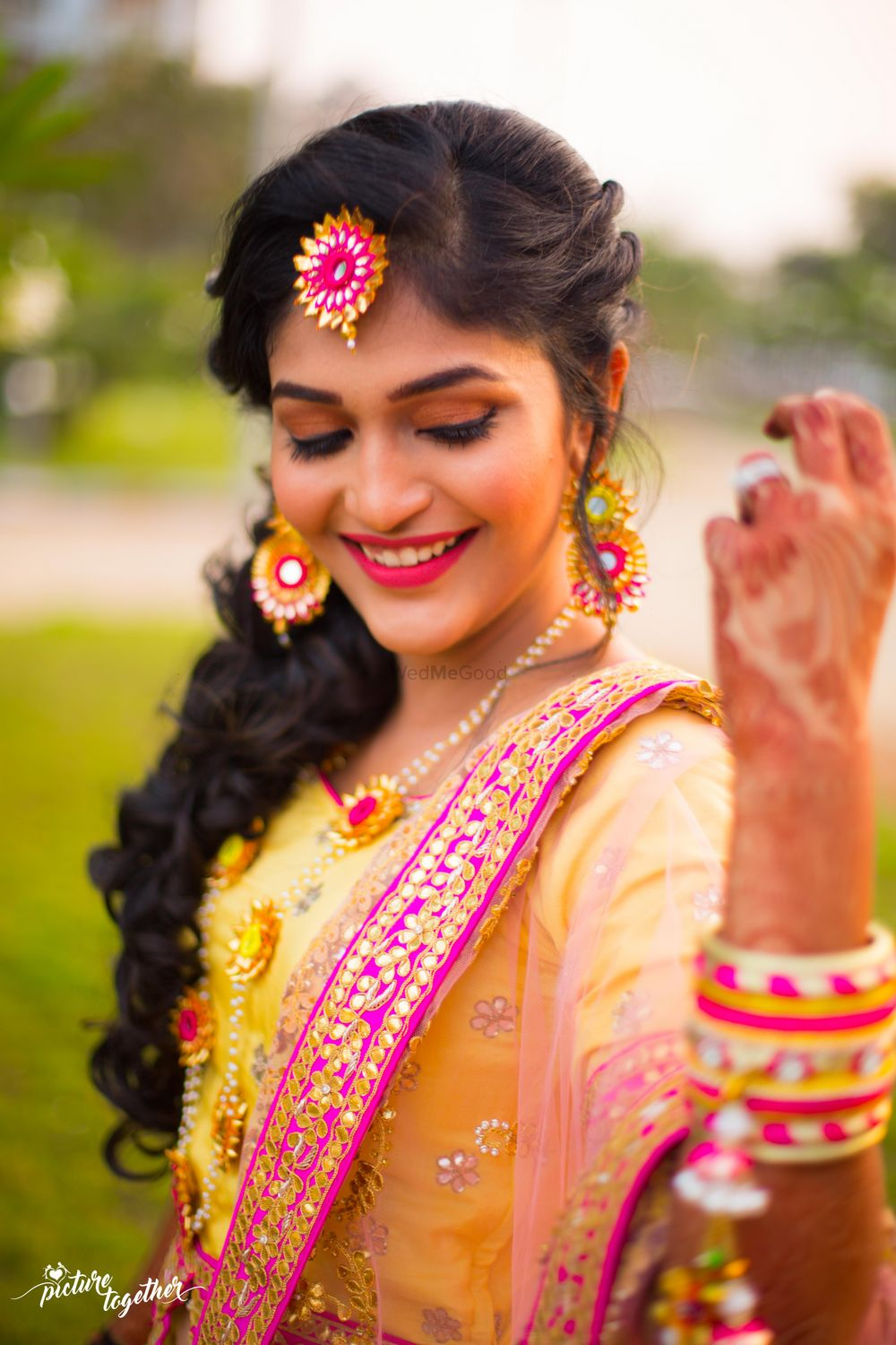 Photo of Pink and yellow gota jewellery for mehendi