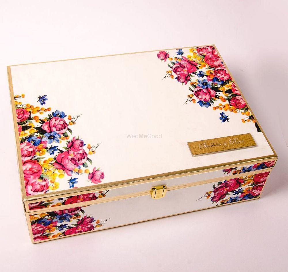 Photo of Wooden box as wedding invite