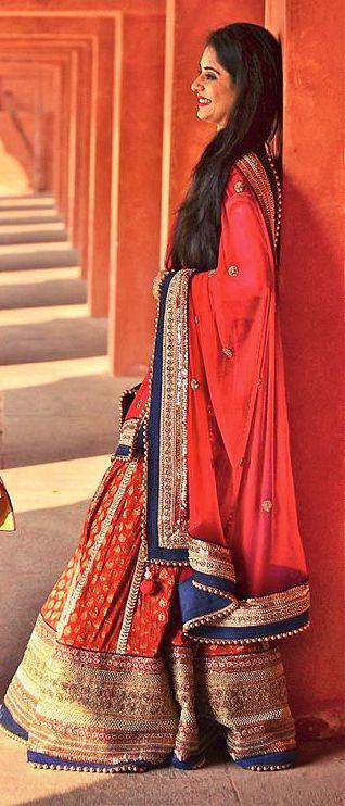 Photo of red banarsi lehenga with blue border