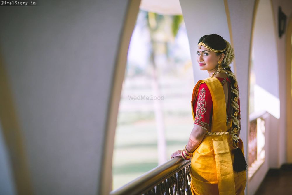 Photo of South indian bride looking back shot