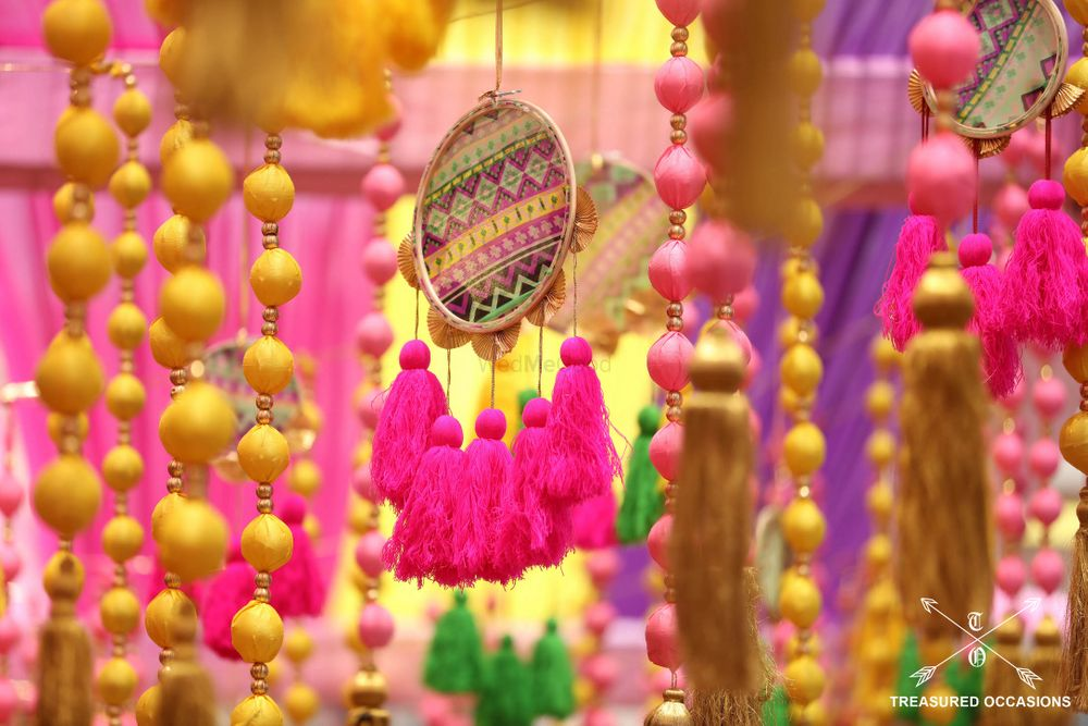 Photo of Bright and colorful hanging decor elements