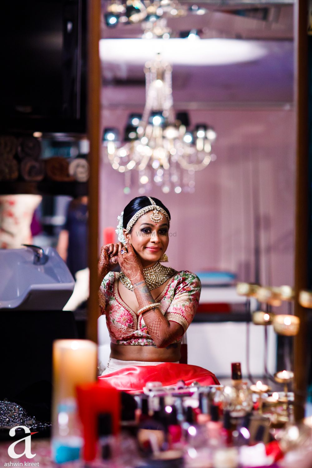 Photo of bride getting ready shot