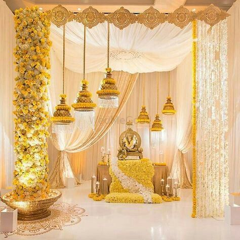 ef029efc33 Photo of South Indian wedding decor with yellow and white florals