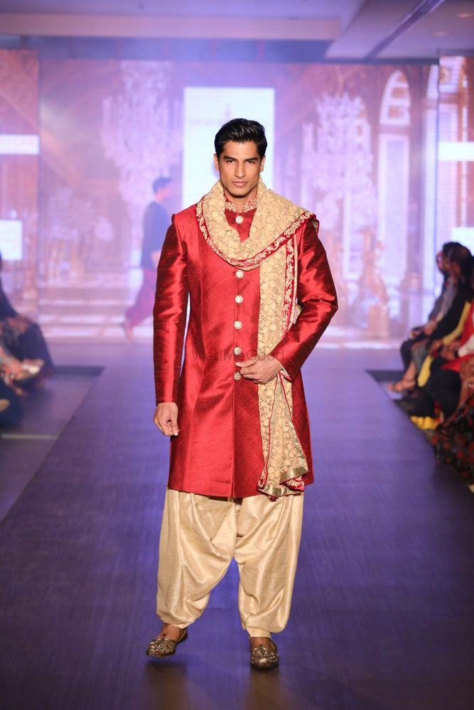 Photo of raw silk red bandhgala